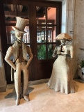 Interesting wicker figurines by the entrance to the lobby bar